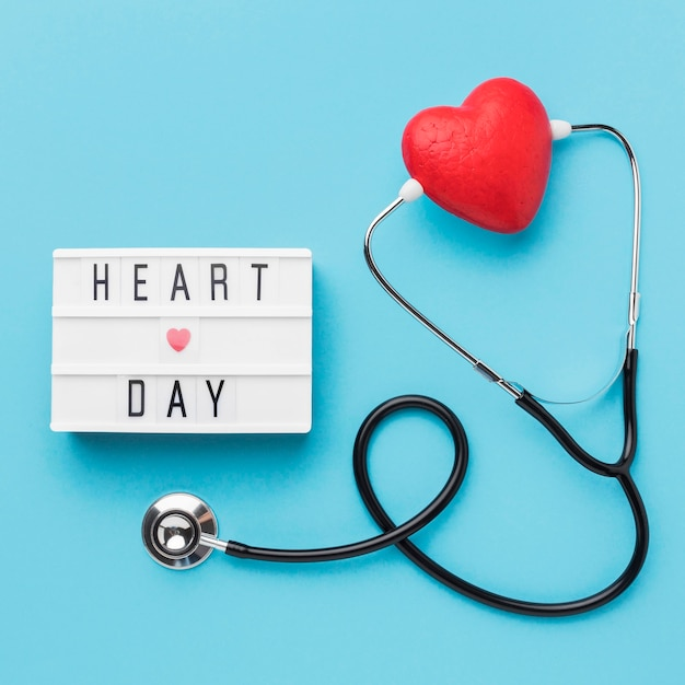 Top view world heart day with stethoscope Free Photo
