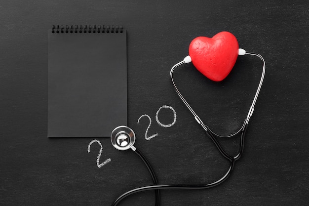 Top view world heart day with stethoscope Premium Photo