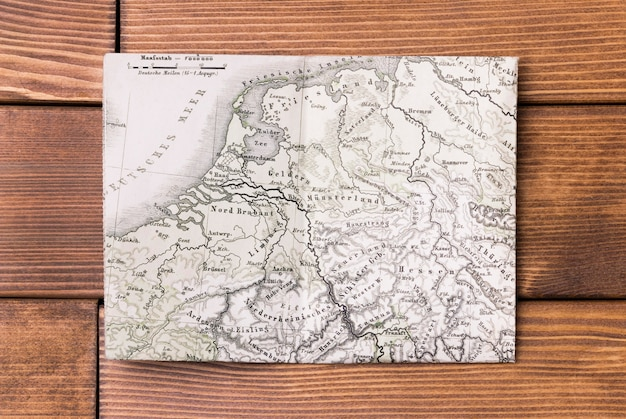 Top view world map on table Free Photo