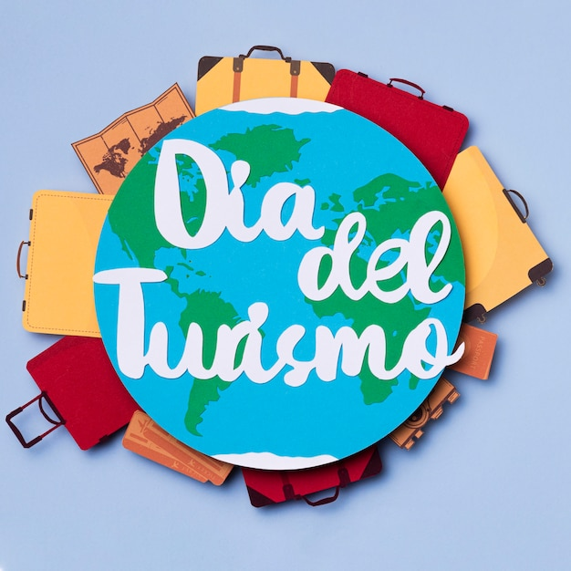 Top view world tourism day with lettering Free Photo