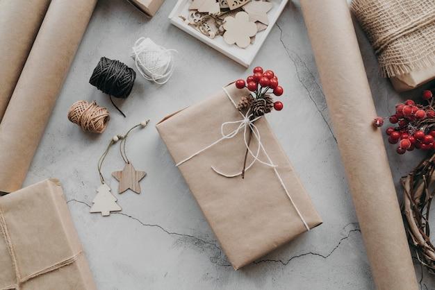 상위 뷰 포장 선물 배열 무료 사진