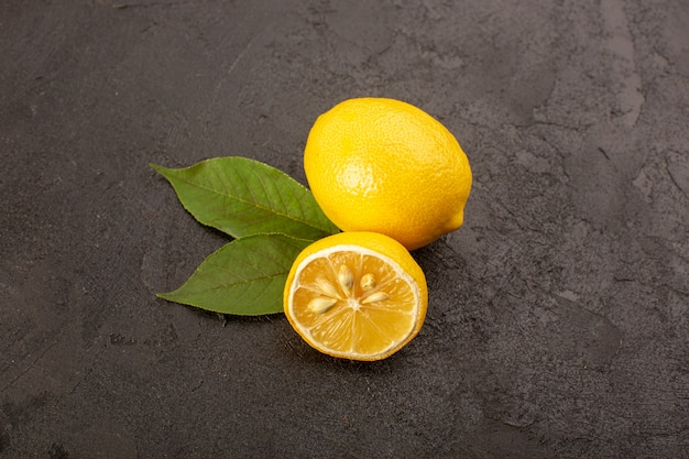 A top view yellow fresh lemons mellow and juicy whole and ...