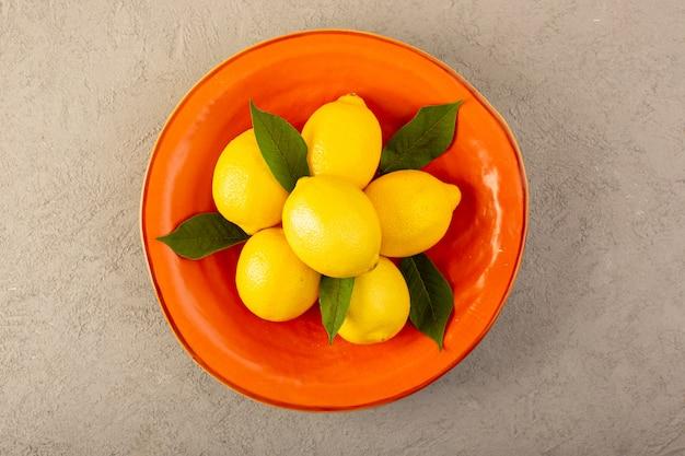 A top view yellow fresh lemons ripe mellow juicy inside ...