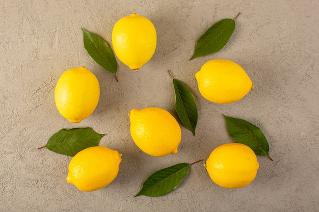 A top view yellow fresh lemons ripe mellow juicy with ...