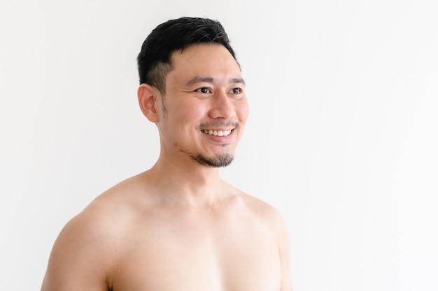 격리에 행복 한 남자의 토플리스 초상화 프리미엄 사진