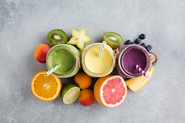 Topview smoothies and fruit Free Photo