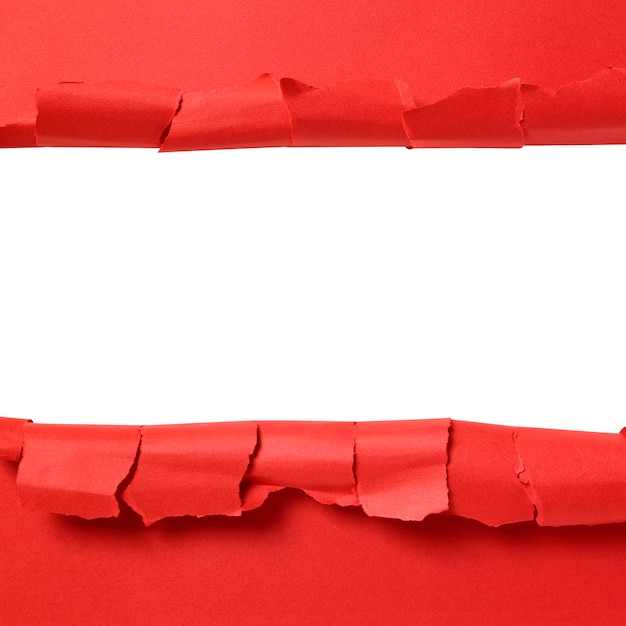 Torn red paper strip with white background copy space Free Photo
