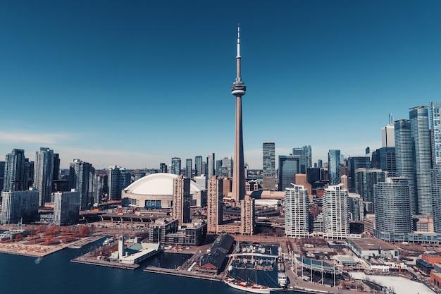 Аэрофотоснимок горизонта торонто, канада Premium Фотографии