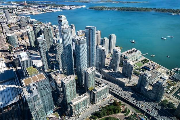 Toronto skyline aerial view Premium Photo