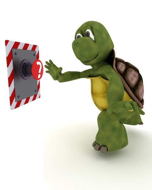 Tortoise per spingere un pulsante rosso Foto Gratuite