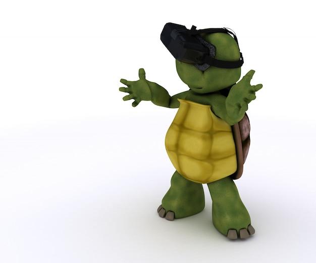 Tortoise che gioca con i vetri di realtà virtuale Foto Gratuite
