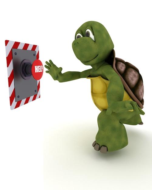 Tortoise premendo un pulsante rosso Foto Gratuite