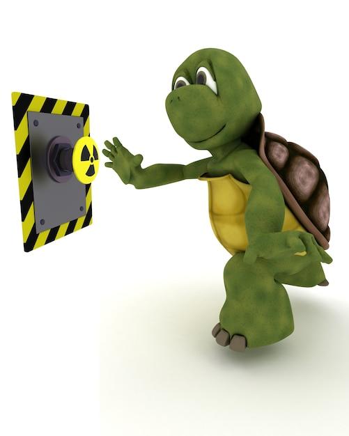Tortoise premendo un pulsante giallo Foto Gratuite
