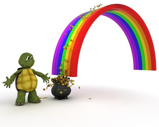 Tortoise in un arcobaleno Foto Gratuite
