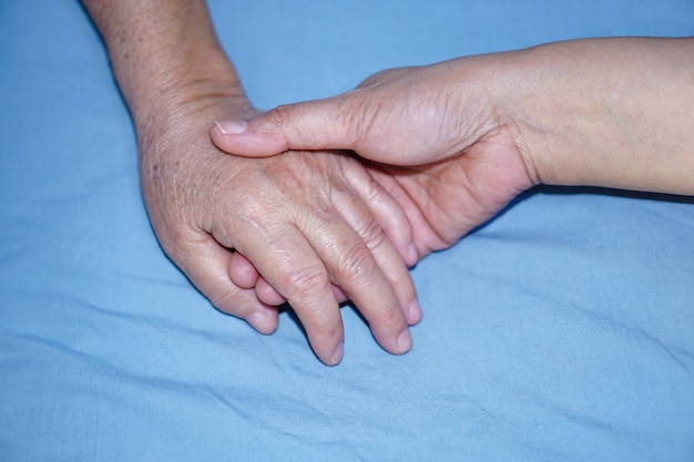 Touching hands asian senior woman patient with love and care. Premium Photo