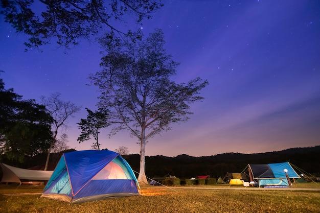밤에 숲 근처 캠핑 관광. 별이 가득한 아름다운 밤하늘 아래 조명 텐트와 캠프 파이어. 프리미엄 사진