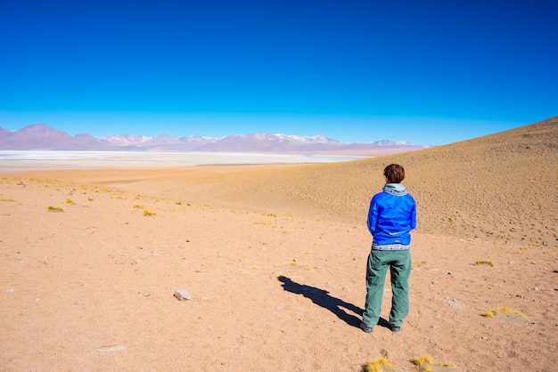 Tourist looking at the stunning landscape of salty frozen lake on the andes Premium Photo