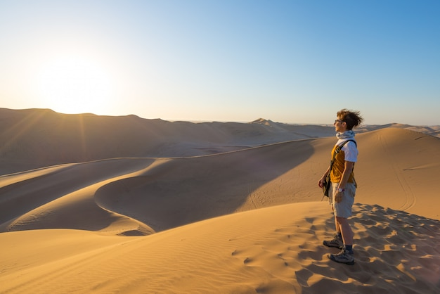 Tourist standing on sand dunes and looking at view in sossusvlei, namib desert, travel destination in namibia, africa. Premium Photo