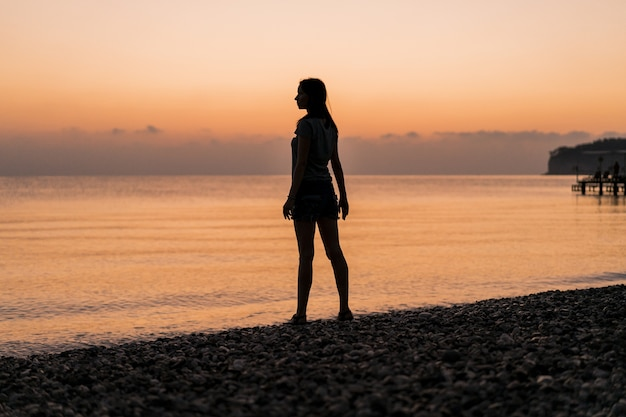 Tourist at the sunrise long shot Free Photo