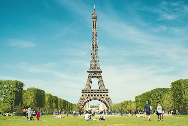 Tourists chilling in park near eiffel tower paris, france. Premium Photo