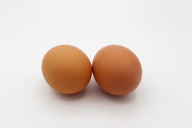 Tow eggs isolated on white Premium Photo