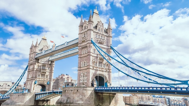 Tower bridge in london with blue sky and cloudy Premium Photo