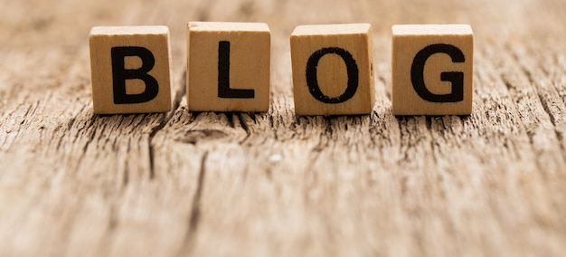 Toy bricks on the table with word blog Free Photo