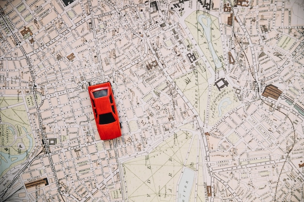 Toy Car On City Map Photo Free Download