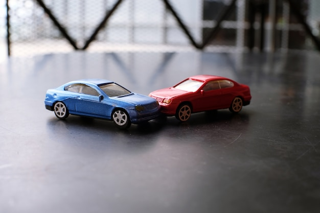 Toy Cars Crash Accident Simulation Red And Blue Car Photo Premium