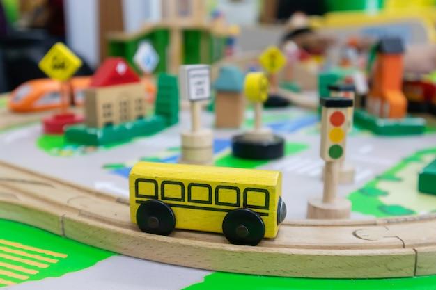 Toy traffic management made of wood for brain development for children Premium Photo