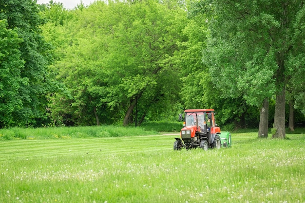 Tractor lawn mower mows grass Premium Photo