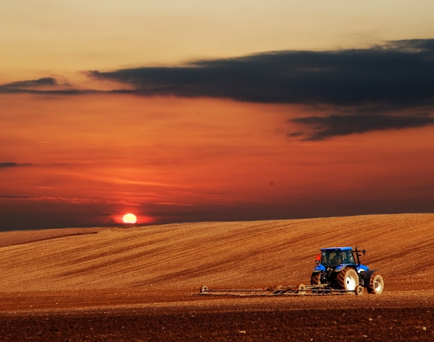 Tractor plowing Free Photo