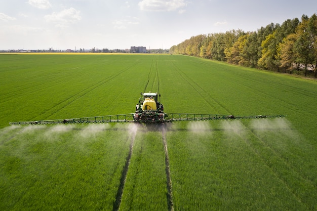 Tractor spraying pesticides with sprayer on the large green agricultural field Premium Photo