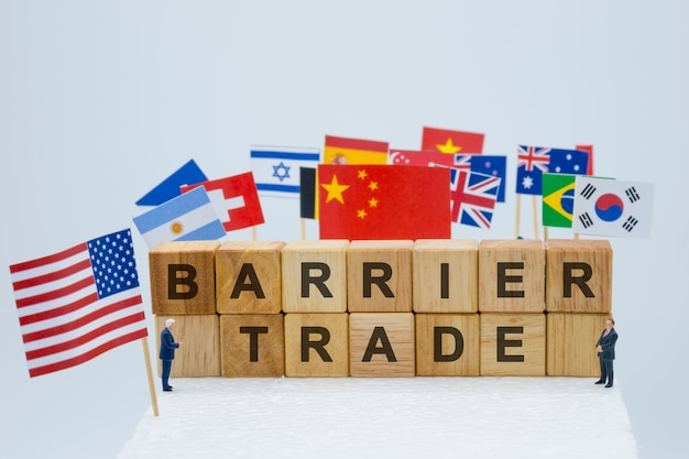 Trade barrier wording with usa china and multi countries flags. mage. Premium Photo