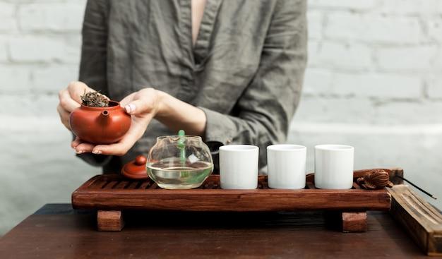 Traditional accessories for tea ceremony Premium Photo
