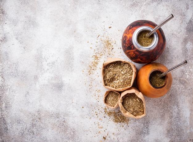 Traditional argentina yerba mate tea Premium Photo
