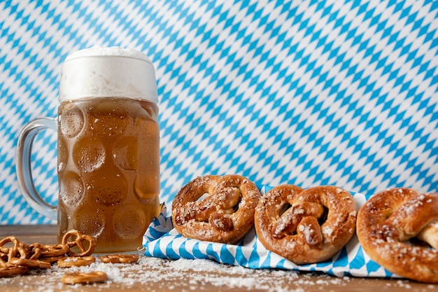 Traditional bavarian snacks and drink on a table Free Photo