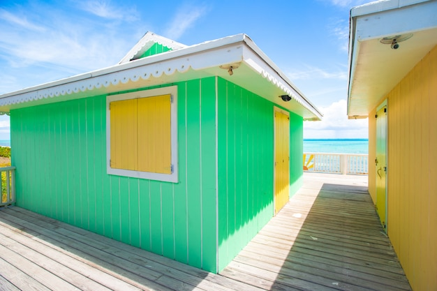 Traditional bright caribbean houses on the beach Premium Photo