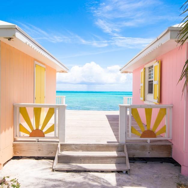 Traditional bright caribbean houses Premium Photo