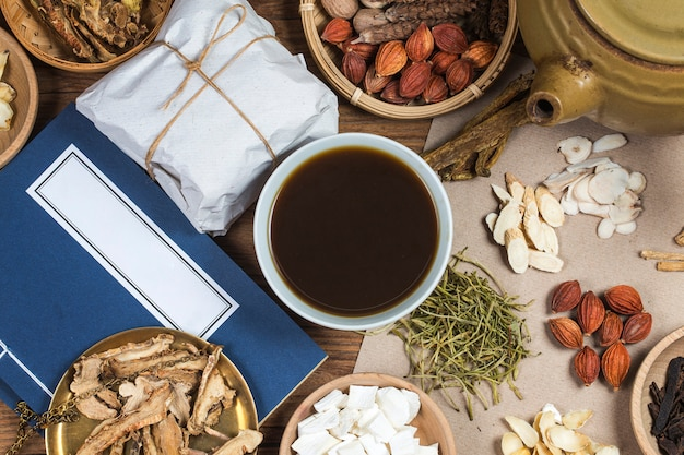Traditional chinese medicine,chinese medicine books Premium Photo