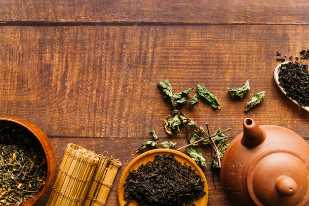 Traditional chinese teapot with tea leaves and placemat on wooden desk Free Photo