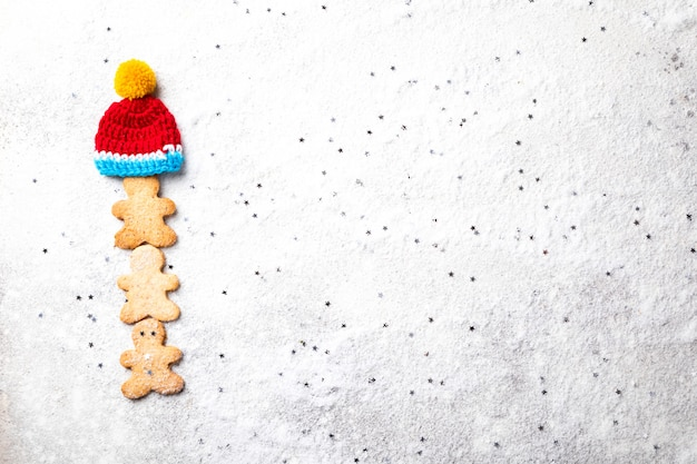 Traditional christmas baking. gingerbread man Premium Photo