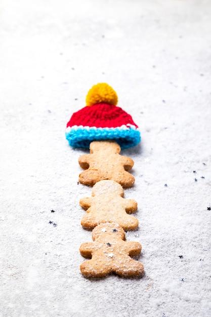 Traditional christmas baking. gingerbread man Premium Photo