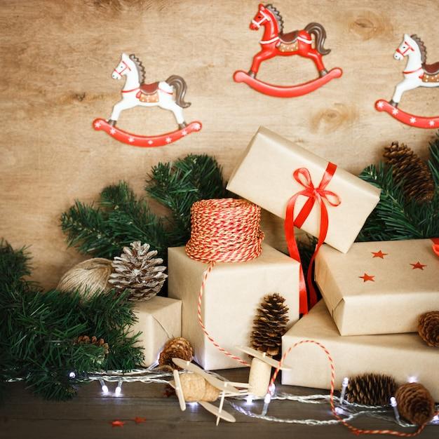 Traditional christmas decoration with vintage xmas toys Premium Photo