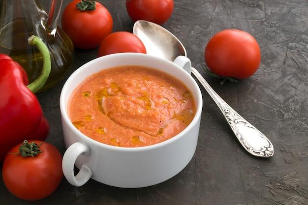 Traditional cold gazpacho soup. spanish, mediterranean cuisine. Premium Photo