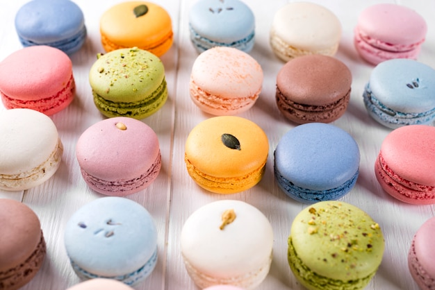 Traditional colorful french macarons Premium Photo