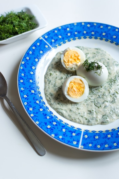 Traditional czech dill gravy with boiled eggs Free Photo