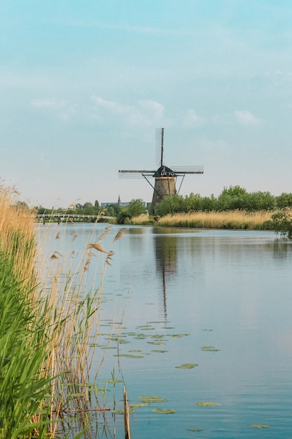 Traditional dutch windmills with green grass in the foreground Free Photo