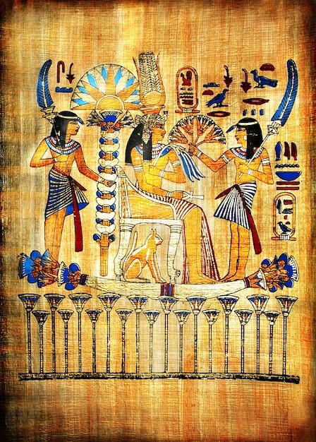 Традиционный египетский папирус ручной работы фон Premium Фотографии