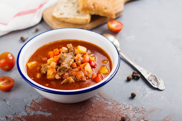 Traditional hungarian goulash soup Premium Photo